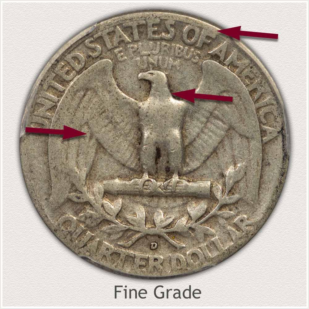 Reverse View: Fine Grade Washington Quarter