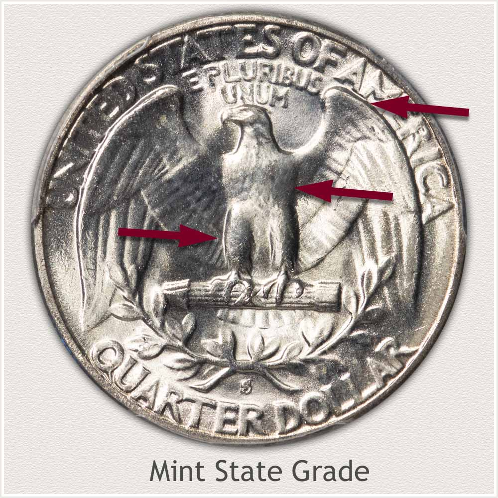 Reverse View: Mint State Grade Washington Quarter