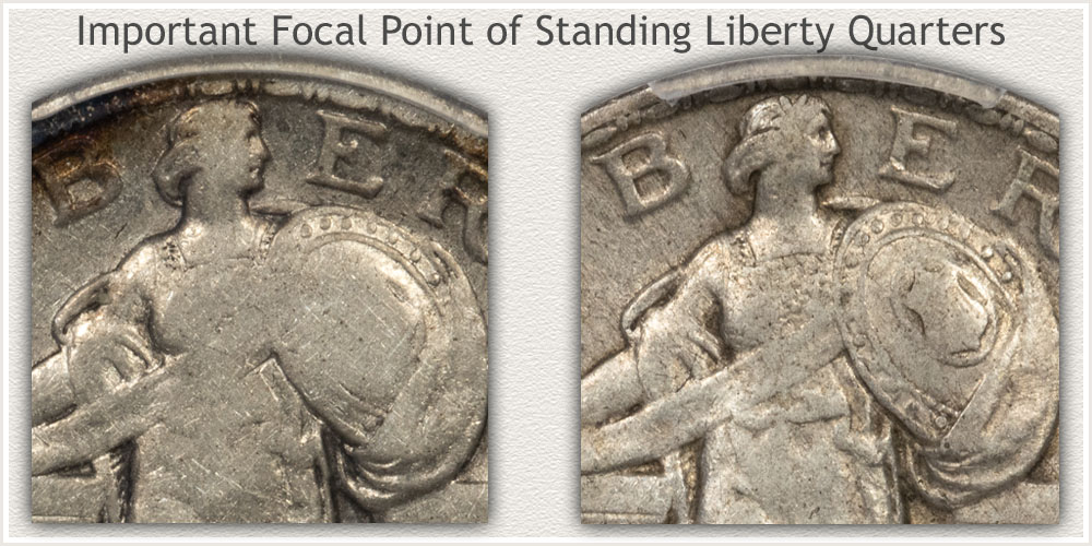 Wear Focal Point Standing Liberty Quarters