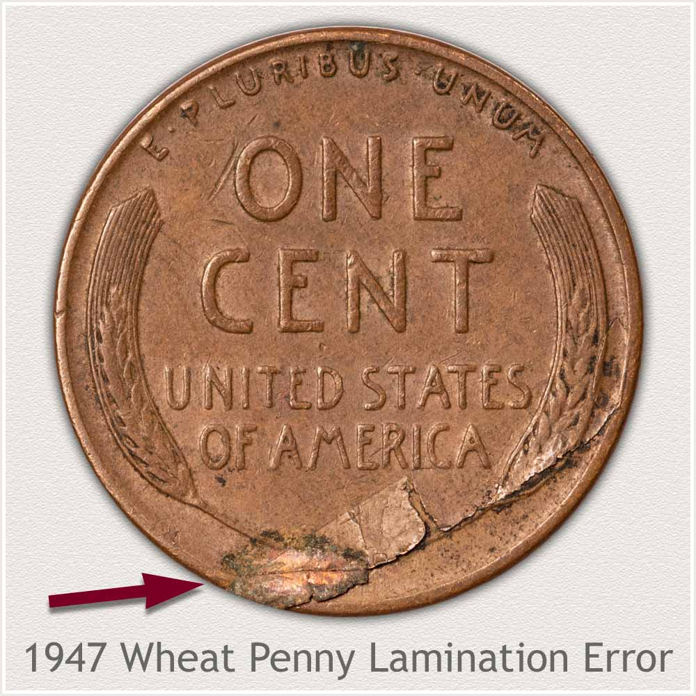 Large Lamination Error on Reverse of Wheat Penny