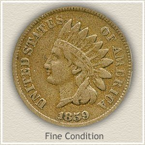 1859 Indian Head Penny Fine Condition
