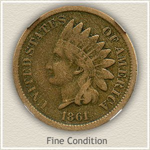 1861 Indian Head Penny Fine Condition