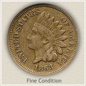 1863 Indian Head Penny Fine Condition