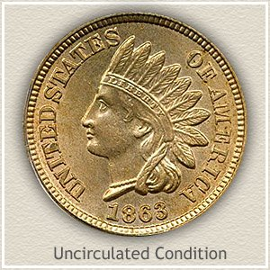 1863 Indian Head Penny Uncirculated Condition
