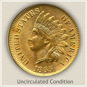1865 Indian Head Penny Uncirculated Condition