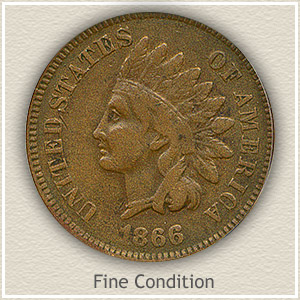 1866 Indian Head Penny Fine Condition