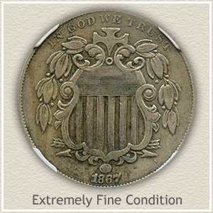 1867 Shield Nickel Extremely Fine Condition