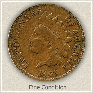 1869 Indian Head Penny Fine Condition