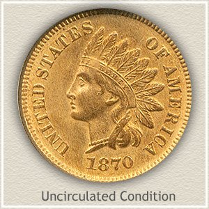 1870 Indian Head Penny Uncirculated Condition