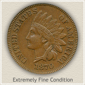 1870 Indian Head Penny Extremely Fine Condition