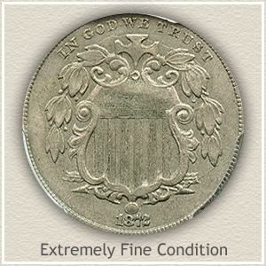 1872 Shield Nickel Extremely Fine Condition