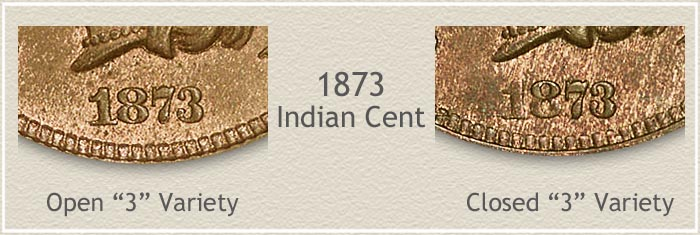 Open and Closed 3 Variety 1873 Indian Penny