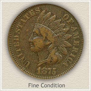 1875 Indian Head Penny Fine Condition