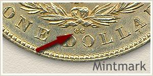 Mintmark Location 1880-CC Morgan Silver Dollar