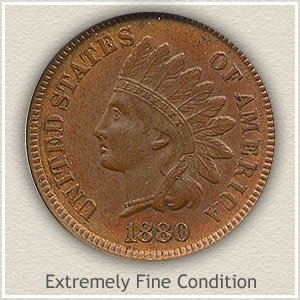 1880 Indian Head Penny Extremely Fine Condition