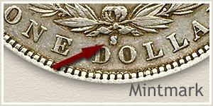 Mintmark Location 1883-S Morgan Silver Dollar