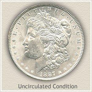 1887 Morgan Silver Dollar Uncirculated Condition