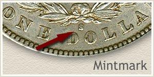 Mintmark Location 1888-S Morgan Silver Dollar