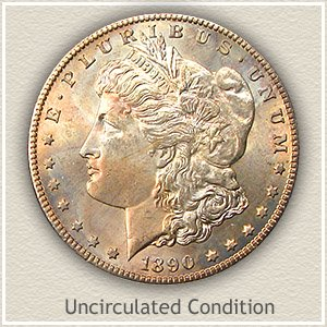 1890 Morgan Silver Dollar Uncirculated Condition