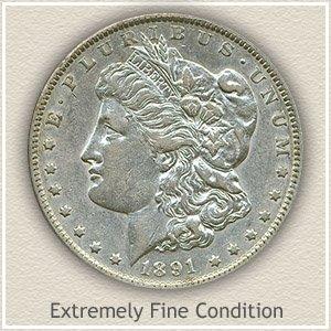 1891 Morgan Silver Dollar Extremely Fine Condition