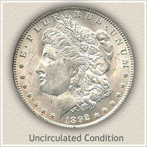 1892 Morgan Silver Dollar Uncirculated Condition