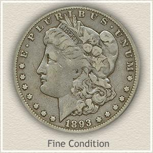 1893 Morgan Silver Dollar Fine Condition