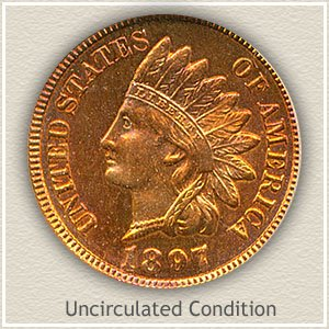 1897 Indian Head Penny Uncirculated Condition