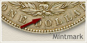 Mintmark Location 1898 Morgan Silver Dollar