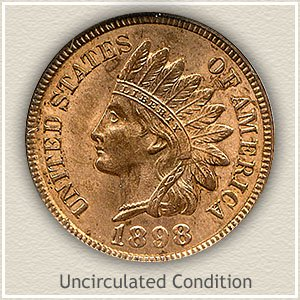 1898 Indian Head Penny Uncirculated Condition