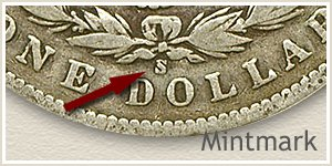 Mintmark Location 1900 Morgan Silver Dollar