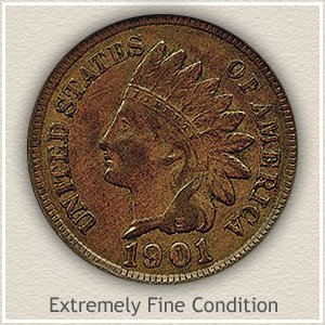1901 Indian Head Penny Extremely Fine Condition