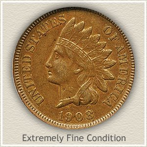 1908 Indian Head Penny Extremely Fine Condition