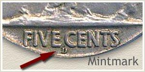 1913 Nickel D Mintmark Location