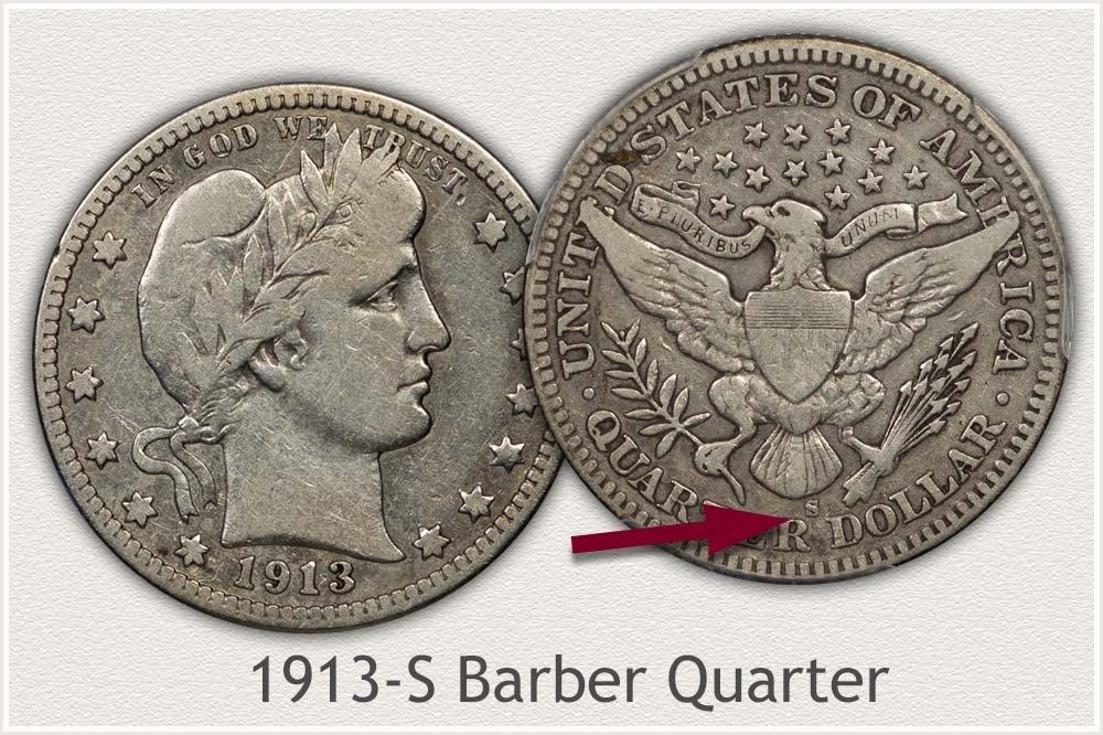 1913-S Barber Quarter