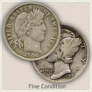 1916 Dime Fine Condition