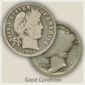 1916 Dime Good Condition