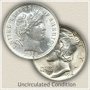 1916 Dime Uncirculated Condition