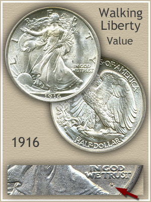Uncirculated 1916 Half Dollar Value