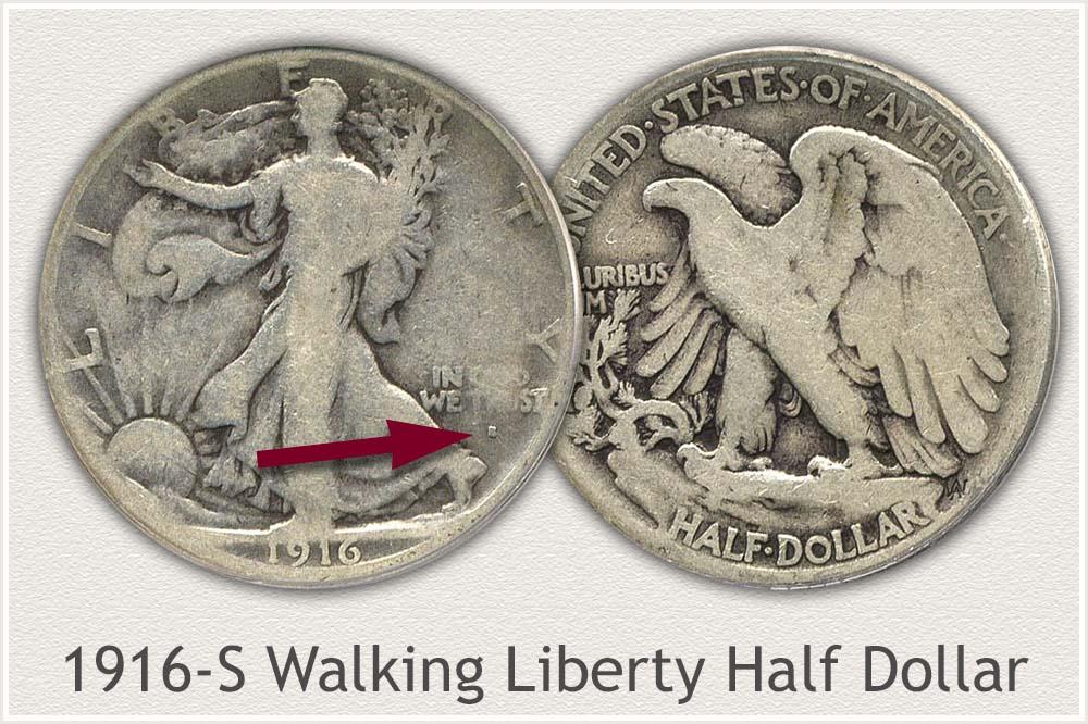 1916-S Walking Liberty Half Dollar