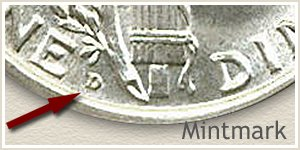 1917 Dime D Mintmark Location