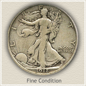 1918 Half Dollar Fine Condition