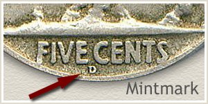 1918 Nickel D Mintmark Location
