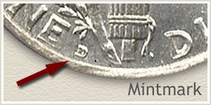 1919 Dime D Mintmark Location