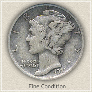 1921 Dime Fine Condition
