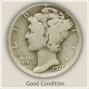 1921 Dime Good Condition