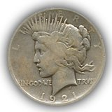 1921 Peace Silver Dollar Good Condition