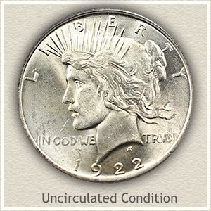 1922 Peace Silver Dollar Uncirculated Condition