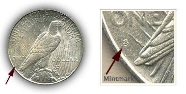 Mintmark Location 1925-S Peace Silver Dollar