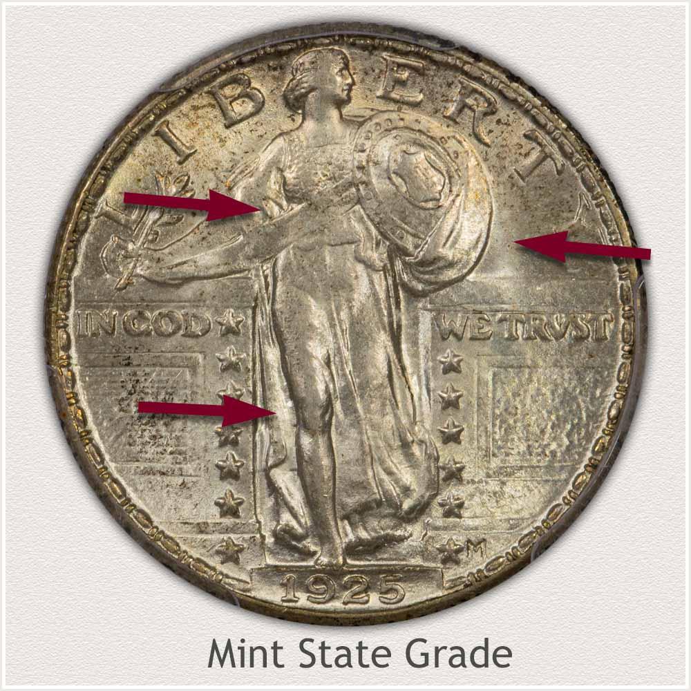 1925 Standing Liberty Quarter Mint State Grade
