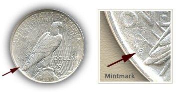 Mintmark Location 1927 Peace Silver Dollar